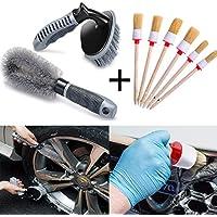 Fansport Cepillo del neumático del Coche, Cepillo Que detalla Auto de 6PCS Cepillos del Limpiador del Coche práctico Cepillos Auto de la Limpieza con los cepillos de Rueda 2PCS