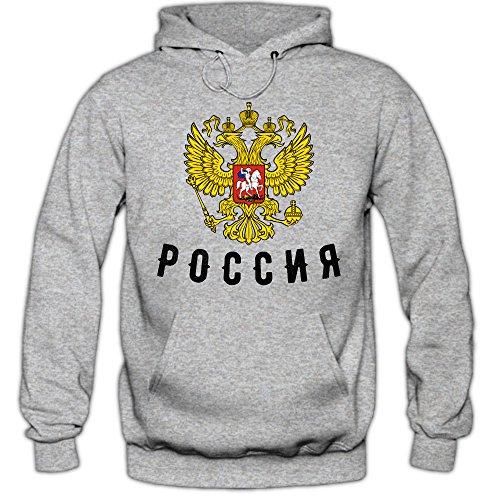 Shirt Happenz Russia Cyrillic Hoodie Fußball WM 2018 Eishockey Ice Hockey Russland Russian Federation Kapuzenpullover, Farbe:Graumeliert;Größe:L