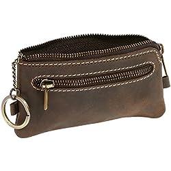 Monedero-llavero para señores y señoras Vintage Style LEAS, Piel auténtica, marrón - ''LEAS Vintage-Collection''