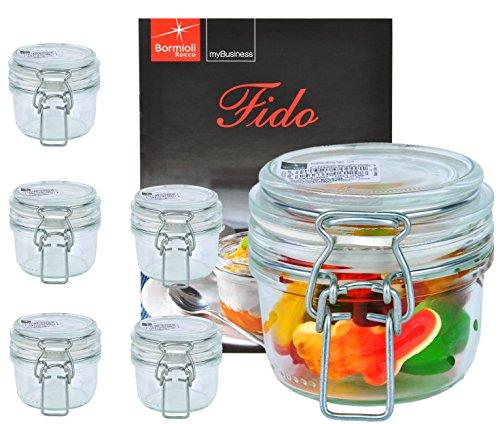 6er Set Einmachglas Bügelverschluss Original Fido 0,125L incl. Bormioli Rezeptheft