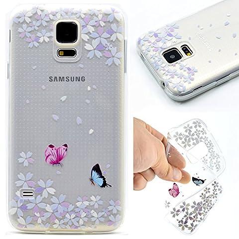 Samsung Galaxy S5 Mini Hülle, Galaxy S5 Mini Silikon Case, Tiker Transparent TPU Klar Bumper Soft Rückseite Back Cover Defender Protective Schale Etui Tasche Handy Hülle Etui Crystal Durchsichtig Handyhülle Case Schutzhülle für Samsung Galaxy S5