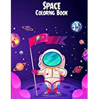 Space Coloring Book: Unique Design Moon and Stars Coloring Pages Printable for Toddlers and Preschoolers - 8.5x11 Inches Large 50 Printable Pictures Inside Children Space Coloring Book