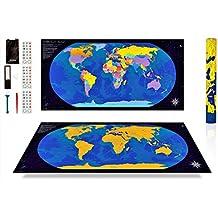 ANFIPO Mapa Para Rascar Scratch Map – Mapa del Mundo de Pared (Azul) y Dorado 840*420mm con Países de Colores - Mapamundi Para Rascar y Registrar tus Viajes