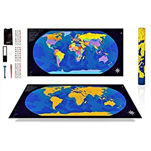 ANFIPO Mapa Para Rascar Scratch Map – Mapa del Mundo de Pared (Azul) y Dorado 840*420mm con Países de Colores – Mapamundi Para Rascar y Registrar tus Viajes