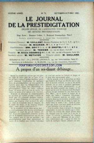 JOURNAL DE LA PRESTIDIGITATION [No 73] du 01/09/1933 - A PROPOS D'UN SOI-DISANT DEBINAGE.