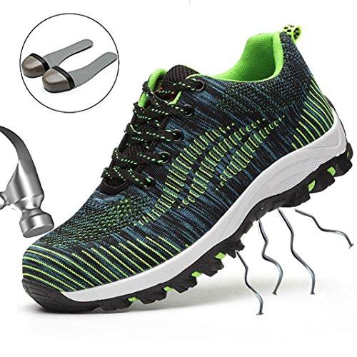 SUADEEX Damen Herren Sicherheitsschuhe Arbeitsschuhe Sportlich Trekking Wanderhalbschuhe Stahlkappe Schutzschuhe Hiking Schuhe Traillaufschuhe- Gr. 35 EU, Grün