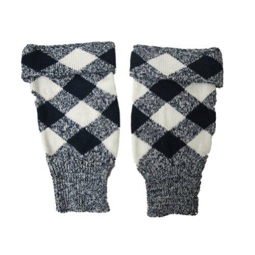 Tartanista - Hauts de bas tricotés - pour homme - tartan - bleu marine/blanc - L - Mollet 36 cm longueur 32 cm
