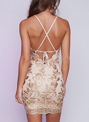 Azbro Women's Halter Neck Backless Mini Bodycon Dress golden