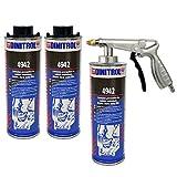 Dinitrol 4942 Unterbodenwachs (Braun), 3 x 1-Liter-Dosen (mit Schutzschraubverschluss) und 1 x Spritzpistole.