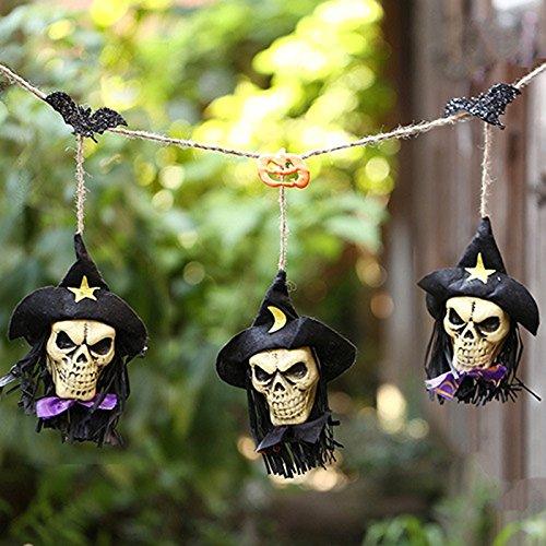 Zantec 1.5m Kürbis Piraten Schädel Schnur Girlande Halloween Dekoration feenhafte Partei (Bilder Freddy Krueger Kostüm)