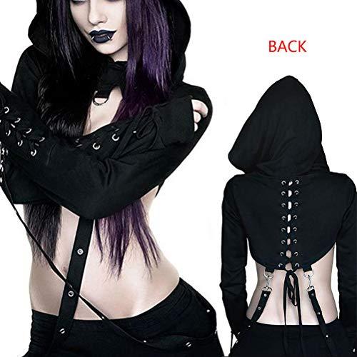 SuperCimi Damen Steampunk Gothic Kostüme Kapuzen Lace Up -