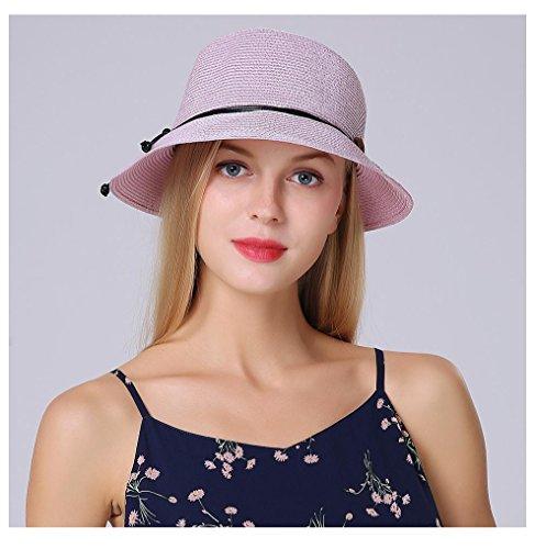 Mesdames chapeau à bord large chapeau de paille d'été pour une Protection solaire pliable femmes Holiday Beach Pink