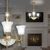 MIA Light Antik Kronleuchter Ø550mm/Golden/Glas/Messing/Lampe Leuchte Lüster Lüsterlampe Lüsterleuchte