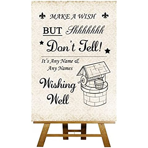 Chic Wishing Well Shabby Chic Avorio Collection–stampa di Matrimonio Segno Large A3 Ivory