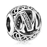 Lily Jewellery vintage Lettre A-Z clair CZ Argent sterling 925Pour bracelet Pandora Charm Bracelet - Letter M