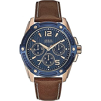 Guess W0600G3 - Reloj con correa de piel, para hombre, color azul / marrón de Guess