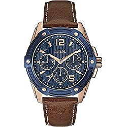 Guess Men's Quartz Watch with Blue Dial Analogue Display and Brown Leather Bracelet W0600G3