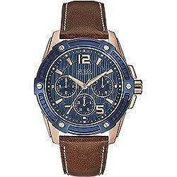 Guess W0600G3 - Reloj con correa de piel, para hombre, color azul/marrón