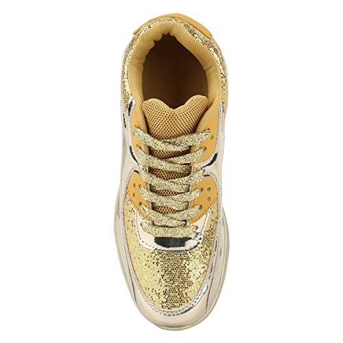 Trendige Unisex Laufschuhe | Damen Herren Kinder | Sportschuhe Metallic Glitzer | Camouflage Sneaker Bunt | Schnür Sport Turnschuhe Gold Gold