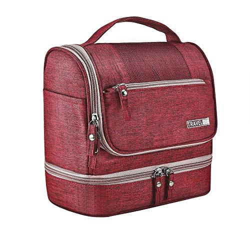 Ljwjialo Wasserdicht Kulturtasche zum Aufhängen Kosmetiktasche Waschtasche Reise Kulturtasche Praktische Mode Tragbar für Damen Herren und Kinder Reise (Color : Wine Red)