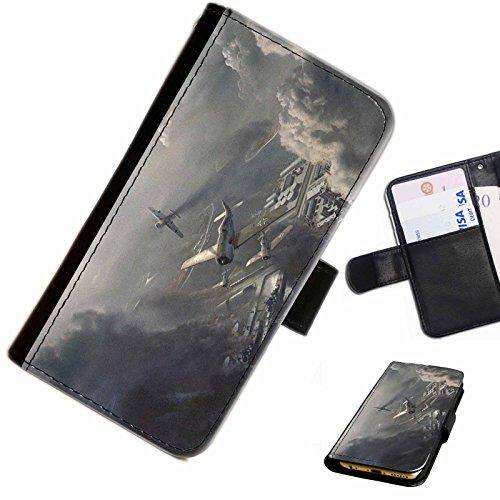 Hairyworm- Flugzeuge Apple Iphone 3G, 3Gs Leder Klapphülle Etui Handy Tasche, Deckel mit Kartenfächern, Geldscheinfach und Magnetverschluss.