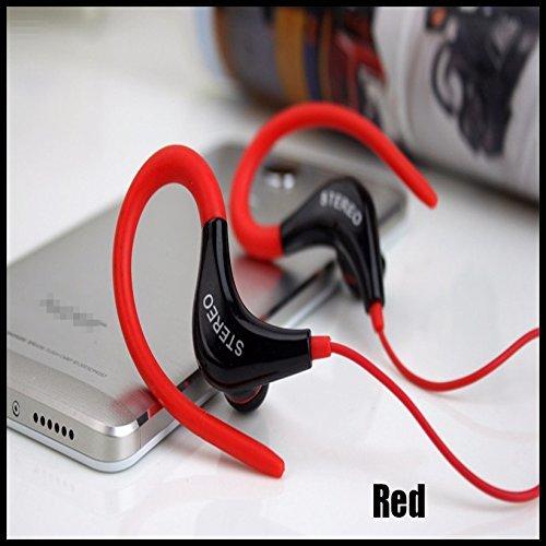 Sport Gym Kopfhörer-Ohr Ohrbügel Kopfhörer Laufen Joggen mit Mikrofon Headset (Schiff von epacket kostenlos), rot -
