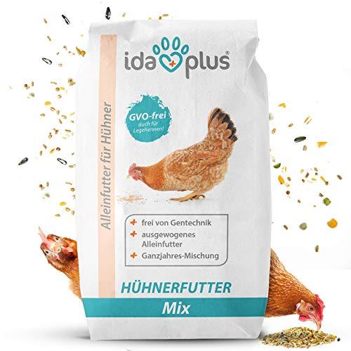 Ida Plus - Hühnerfutter Mix 25 Kg - Ausgewogenes Alleinfutter   Ganzjahres Mischung, GVO-frei (auch für Legehennen)   Bestens für Futterautomaten geeignet   Enthält Calcium und Vitamine (25 Kg)