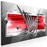 murando - Bilder Abstrakt 120x40 cm Vlies Leinwandbild 1 TLG Kunstdruck modern Wandbilder XXL Wanddekoration Design Wand Bild - grau rot a-A-0344-b-c