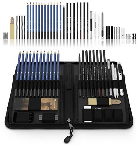 Castle Art Supplies- set di 40 matite da disegno e schizzo, contenute in custodia con zip – include grafite, pastelli e matite carboncino e accessori