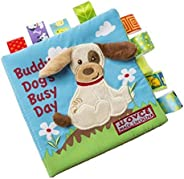 Dog Story Cloth Books, Baby's First Non-Toxic Fabric Soft Cloth Book Set Crinkle,Colorful,Squeak,Rattle Ru
