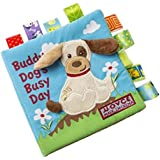 Dog Story Cloth Books, Baby's First Non-Toxic Fabric Soft Cloth Book Set Crinkle,Colorful,Squeak,Rattle Rustling Sound Activi
