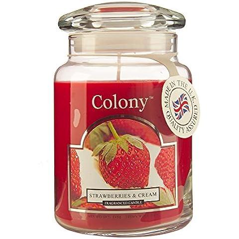 Colony, Candela profumata in barattolo, grande, aroma: Fragole e Crema,