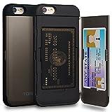 TORU CX Pro iPhone 6S Hülle Kartenfach mit Verstecktes Ausweis-Slot Kreditkartenhalter und Spiegel für iPhone 6S / iPhone 6 - Gunmetal