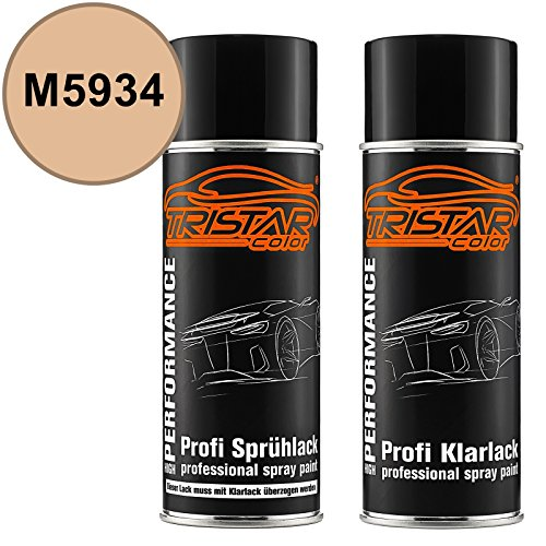 TRISTARcolor Autolack Spraydosen Set für Ford/Lincoln/Mercury M5934 Light Desert Tan Basislack Klarlack Sprühdose 400ml - Tan-farbton