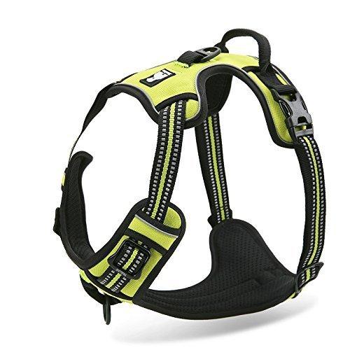 Einstellbare, nicht gezogene Hundegeschirre Haustierweste mit 3m reflektierendem, weich gepolstertem Schwerlastgriff für Training oder Gehen (XS-Brust Größe: 13-17in, Grün)