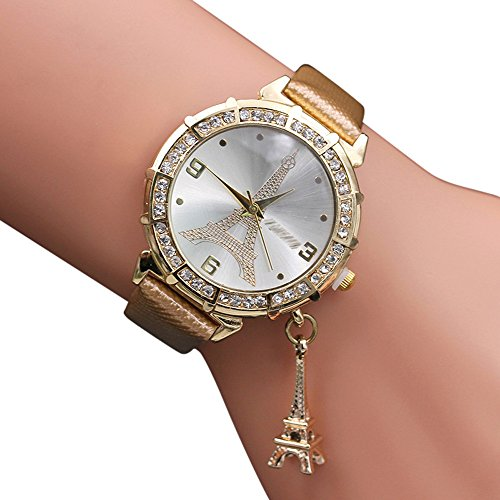 2019 Urh Damen Fashion Girl Fashion Unisex Men Women Women Quartz Wrist The Eiffel Tower Rhinestone Pendant Wrist Watch Mode zu sehen