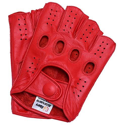 Riparo Guanti da Moto Senza Dita, Senza Dita, in Vera Pelle con Cuciture rovesciate per Donna 7 Rosso