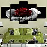 Pinturas En Lienzo 5 Piezas Rosas En La Palma De La Mano Imágenes Para Sala De Estar Decoración Para El Hogar Arte De La Pared Impresiones En Hd Carteles (Sin Marco)-40x60cmx2,40x80cmx2,40x100cmx1