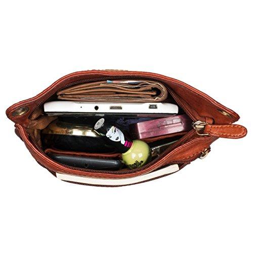 STILORD Sophie Borsa a tracolla da donna piccola pelle borsa a mano saccoccia intrecciata vintage borsa a sera in vera pelle, Colore:siena - marrone cognac - used