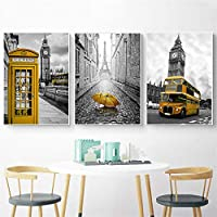 Tanyang Nordic Posters and Prints Yellow Telephone Booth Bus Black White Wall Art London Pairs Wall Pictures for Living Room Decoration No Frame