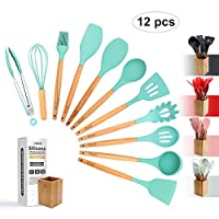 Silicone Cooking Utensils Kitchen Utensil Set - 12 Pcs Wooden Handles Cooking Tools Turner Tongs Spatulas Spoon for nonstick Cookware with Bamboo Holder - (BPA Free, Non Toxic) (Green)