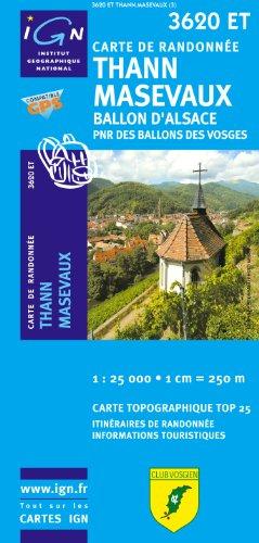 Top25 3620ET ~ Thann Masevaux carte de randonnée avec une règle graduée gratuite