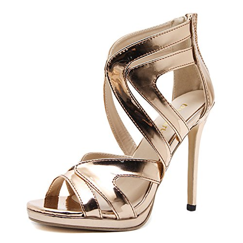 Cut Out Stiletto Damenschuhe Offene Zehe Zurück Reißverschluss Sandalen Damen Flache Pumps Für Kleid Hochzeit High Heels,Gold-EU:38/UK:5.5