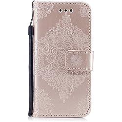 Alfort Cover iPhone 7 / iPhone 8, Custodia iPhone 7 / iPhone 8 PU Cover con Supporto Telefono Portatile 2 Slot per Scheda e Portafoglio per iPhone 7 / iPhone 8 (4.7'') (Oro)