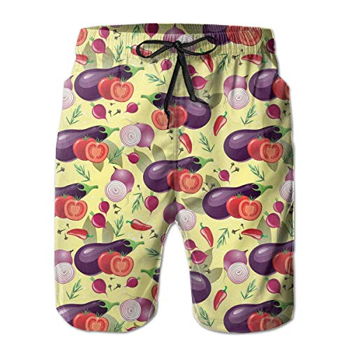 jiger Mens Summer Cool Quick Dry Board Shorts Bathing Suit, Eggplant Tomato Relish Onion Going Green Eating Organic Tasty Preserve Nature M,Beach Shorts Swim Trunks M -