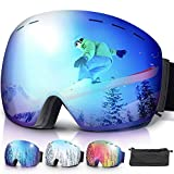 amzdeal Occhiali da Sci OTG, Maschera da Sci Snowboard Antivento Anti Fog Protezione 100% UV 400 per Uomo, Donna e Gioventù per a Snowboard, Motocross e Altri Sport Invernali (Blu)