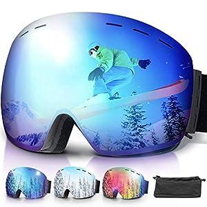 51slomzumPL. SS300 amzdeal Occhiali da Sci OTG, Maschera da Sci Snowboard Antivento Anti Fog Protezione 100% UV 400 per Uomo, Donna e Gioventù per a Snowboard, Motocross e Altri Sport Invernali