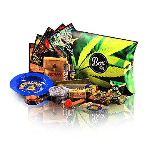 Rolls 420 Box - 180x Rolls Filter Tips, Grinder, Rolling Papers, Bulldog, OCB Longpapers - Starter Set 420 Kit