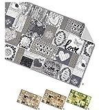 ARREDIAMOINSIEME-nelweb Tappeto Cucina Cuori Tessitura Piatta Retro Antiscivolo Moderno Multiuso corridoio Bagno Camera MOD.TAPIRO33 57X240 Grigio (G)
