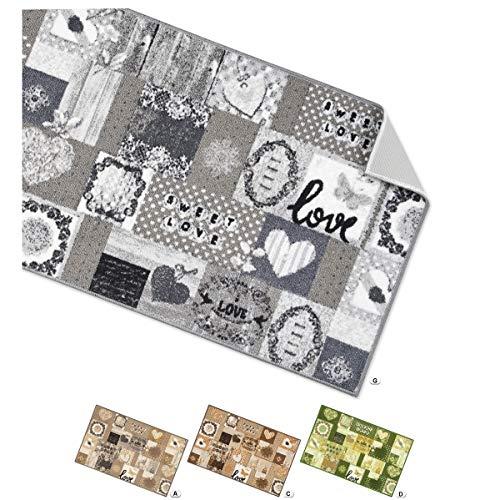 Arrediamoinsieme-nelweb tappeto cucina cuori tessitura piatta retro antiscivolo moderno multiuso corridoio bagno camera mod.tapiro33 57x190 grigio (g)
